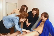 Japanese CFNM with handjobs and blowjobs