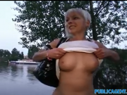 Cute short haired blonde fucked outside on the hood of a car by PublicAgent