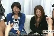 Subtitled CFNM Japanese gyaru handjob lession