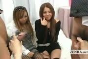 Subtitled: Two tan Japanese gyaru bizarre CFNM handjobs