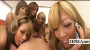 Tan Japanese gyaru in POV handjob rimjob orgy